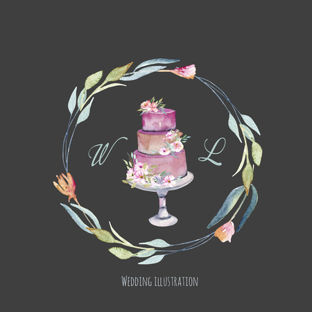 Watercolor holiday wedding cake with floral wreath, wedding card design, invitation card, hand painted on a dark background