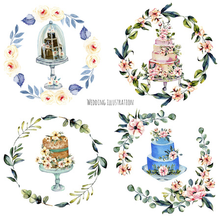 Watercolor holiday wedding cakes with pink flowersand eucalyptus branches floral wreaths illustration collection, wedding card design, invitation card, hand painted on a white background