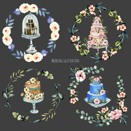Watercolor holiday wedding cakes with pink flowersand eucalyptus branches floral wreaths illustration collection, wedding card design, invitation card, hand painted on a dark background Stockfoto