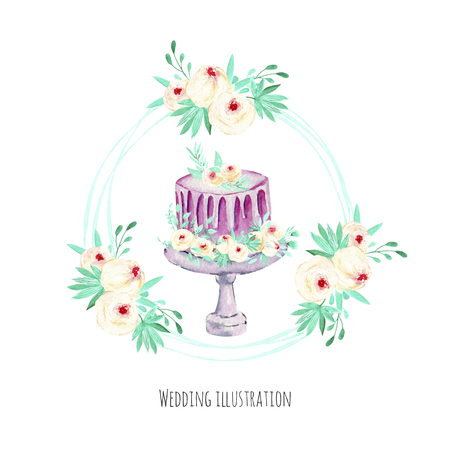 Watercolor holiday wedding cake with pink and mint floral wreath illustration, wedding card design, invitation card, hand painted on a white background