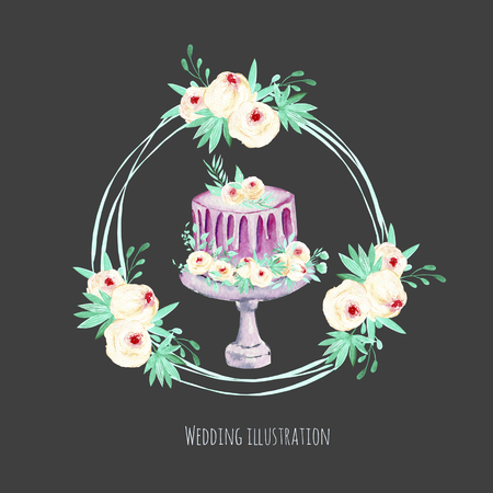 Watercolor holiday wedding cake with pink and mint floral wreath illustration, wedding card design, invitation card, hand painted on a dark background