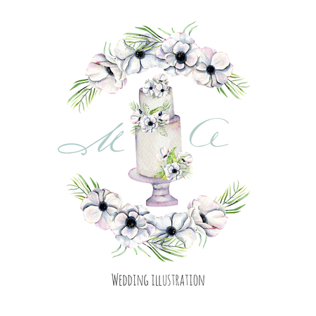 Watercolor holiday wedding cake with anemones wreath illustration, wedding card design, invitation card, hand painted on a white background Stockfoto