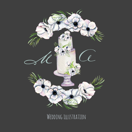 Watercolor holiday wedding cake with anemones wreath illustration, wedding card design, invitation card, hand painted on a dark background