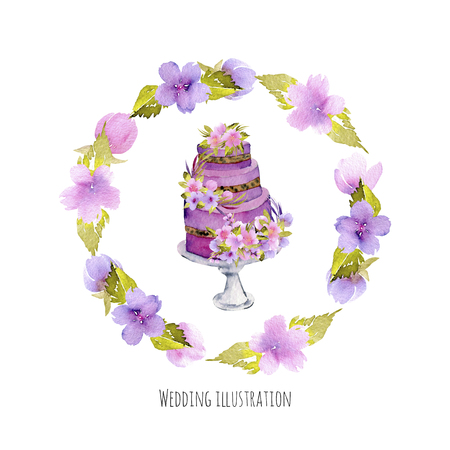 Watercolor holiday wedding cake with purple floral wreath illustration, wedding card design, invitation card, hand painted on a white background