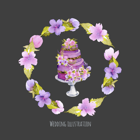 Watercolor holiday wedding cake with purple floral wreath illustration, wedding card design, invitation card, hand painted on a dark background Stockfoto