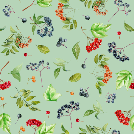 Watercolor viburnum, rowan and elder branches seamless pattern, hand painted on a green background