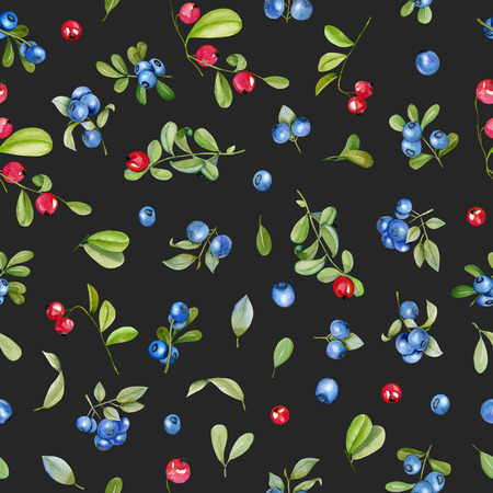 Watercolor cranberry and blueberries seamless pattern, hand painted on a dark background