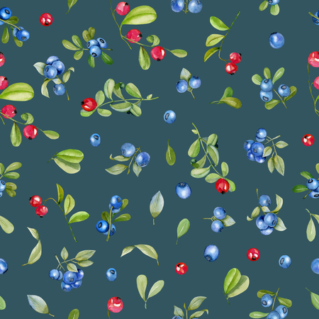 Watercolor cranberry and blueberries seamless pattern, hand painted on a deep blue background Фото со стока