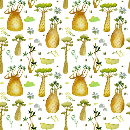 Watercolor tropical baobabs trees and floral seamless pattern, hand painted on a white background