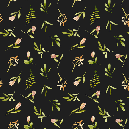 Watercolor tender pink flowers and leaves seamless pattern, hand painted on a dark background