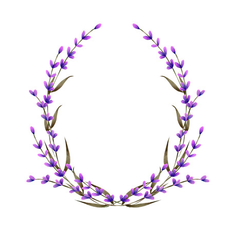 Marco, corona, borde de marco con flores de lavanda acuarela, pintado a mano sobre un fondo blanco, tarjeta de felicitación, postal de decoración, invitación de boda Foto de archivo