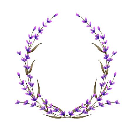 Ramka, wieniec, obramowanie ramki z akwarelowymi kwiatami lawendy, ręcznie malowane na białym tle, kartka okolicznościowa, pocztówka dekoracyjna, zaproszenie na ślub Zdjęcie Seryjne
