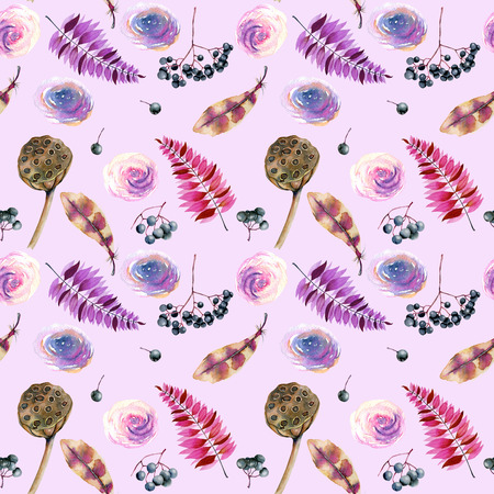 Seamless pattern with watercolor feathers, roses, berries and lotus boxes, hand painted on a light purple background Stok Fotoğraf