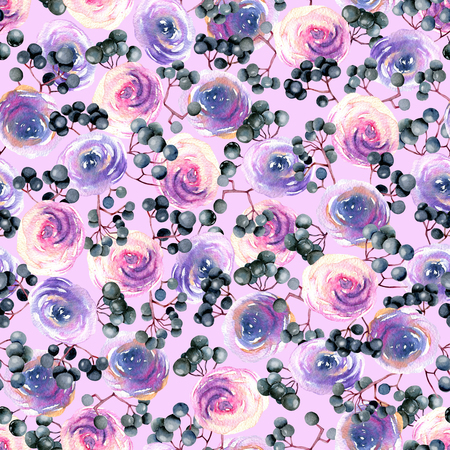 Watercolor pink, purple roses and elderberry branches seamless pattern, hand painted on a pink background