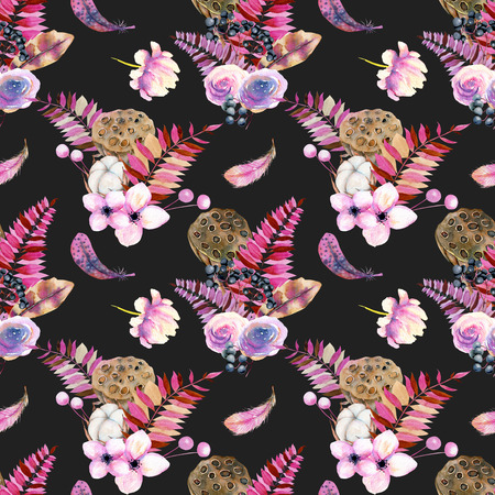 Seamless pattern with watercolor feathers, roses, cotton flowers, berries and lotus boxes, hand painted on a dark background