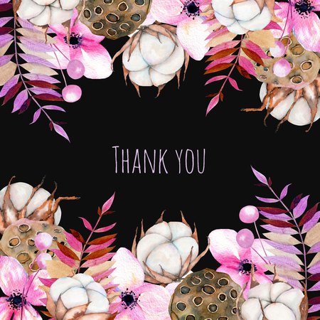 Card template with watercolor, cotton flower, pink florals and lotus boxes, hand painted on a dark background, thank you card design, decoration postcard, wedding invitation