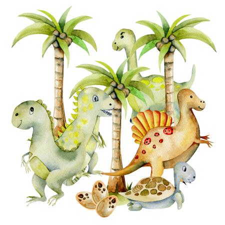 Lindos dinosaurios entre palmeras ilustración acuarela, pintado a mano sobre un fondo blanco.