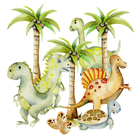 Cute dinosaurs among palm trees watercolor illustration, hand painted on a white background