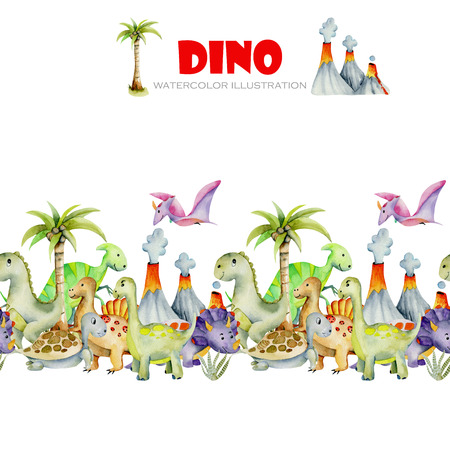 Cute dinosaurs watercolor illustration, hand painted isolated on a white background