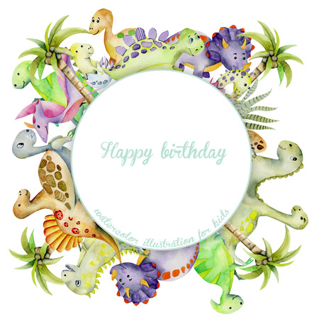 Cute watercolor dinosaurs frame, round border, hand painted kids illustration on a white background, birthday card design Stock Photo