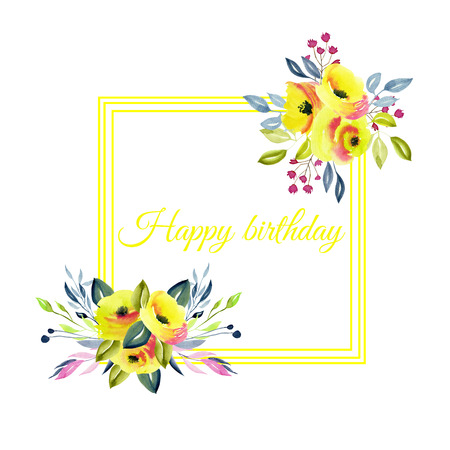 Frame with yellow roses and branches bouquets,  watercolor illustration, hand painted on a white background, birthday card design Foto de archivo - 114521507