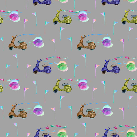 Watercolor festive motorcycles seamless pattern, hand painted on a grey background