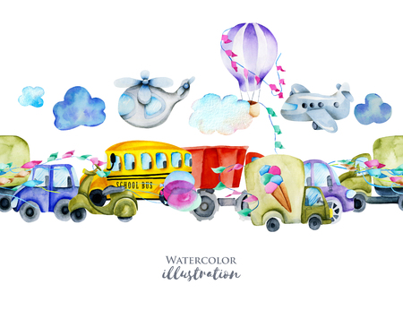 Watercolor cars and air transport border, hand painted on a white background