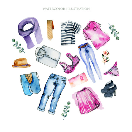 Watercolor women and men clothing illustration collection, hand painted on a white background