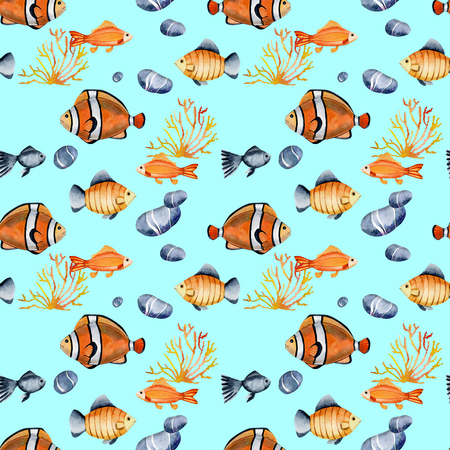 Seamless pattern with water colors