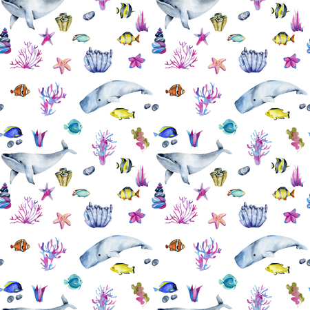 Seamless pattern with watercolor Stock Photo