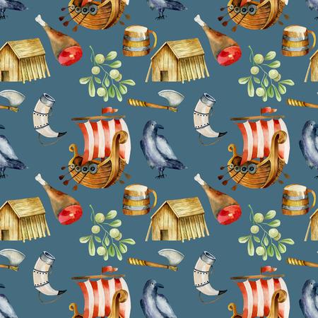 Watercolor drakkars pattern