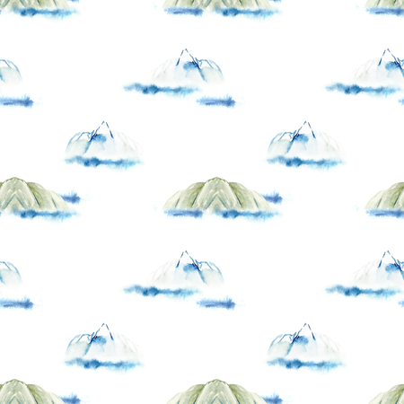 Watercolor mountains and sea seamless pattern Stok Fotoğraf