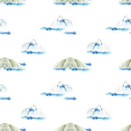Watercolor mountains and sea seamless pattern 免版税图像