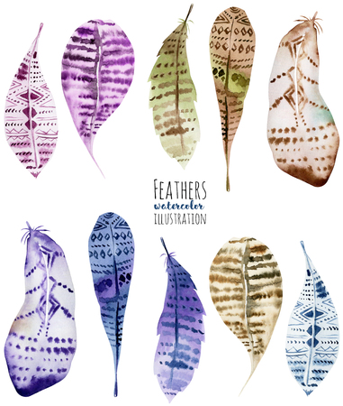 Set of isolated owl feathers, hand painted on a white background Stock Photo