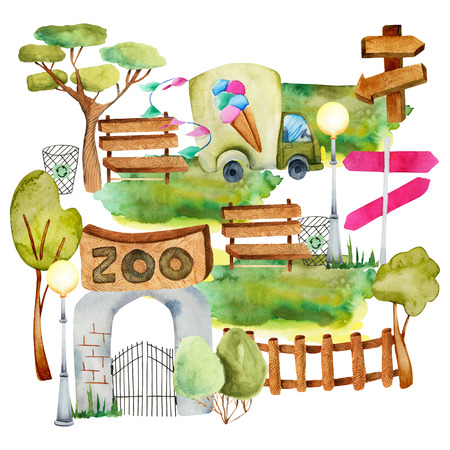 Watercolor illustration of zoo, isolated on white background