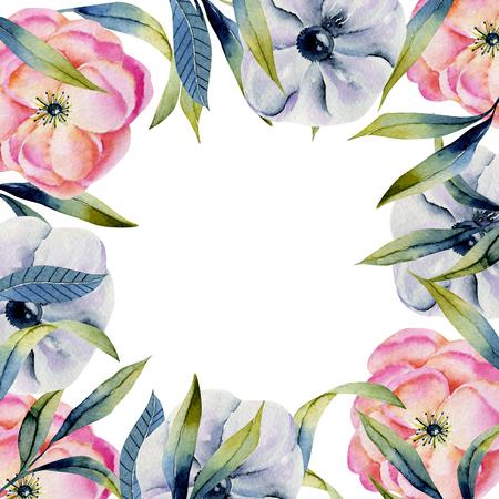Tarjeta de anémonas y flores verdes