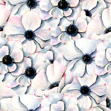 Watercolor white anemones seamless pattern, hand drawn on a white background Stock Photo