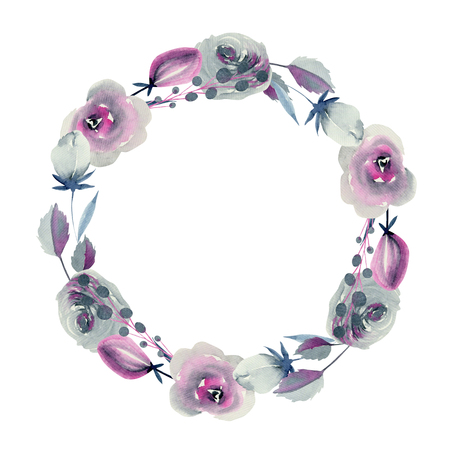 Circle frame, wreath with the floral design
