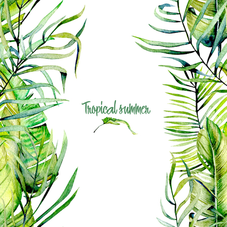 Watercolor tropical green leaves card template Stock Photo