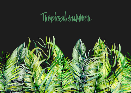 Watercolor tropical green leaves border, hand drawn on a dark background