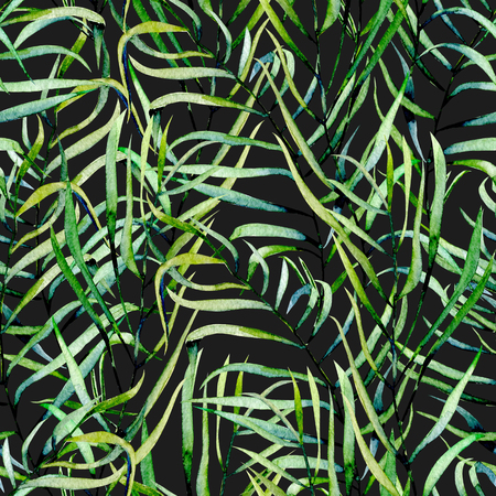 Watercolor fern leaves seamless pattern, hand drawn on a dark background