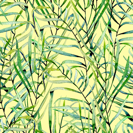 Watercolor fern leaves seamless pattern, hand drawn on a yellow background Stock Photo