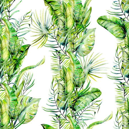 Watercolor tropical green leaves seamless pattern, hand drawn on a white background Stock Photo