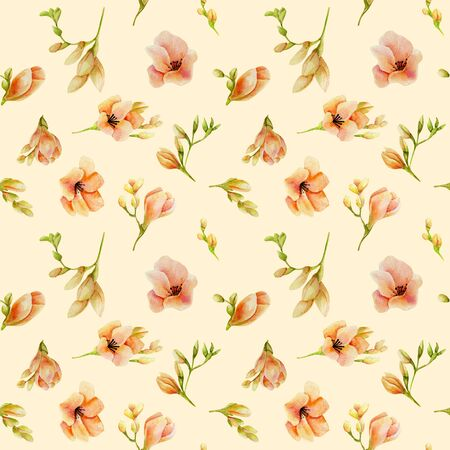 Watercolor peach freesia flowers seamless pattern