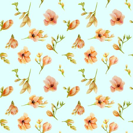 Watercolor peach freesia flowers seamless pattern, hand drawn on a turquoise Banco de Imagens