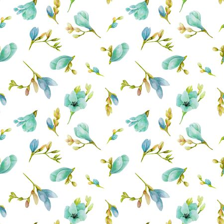 Watercolor blue freesia flowers seamless pattern, hand drawn on a white