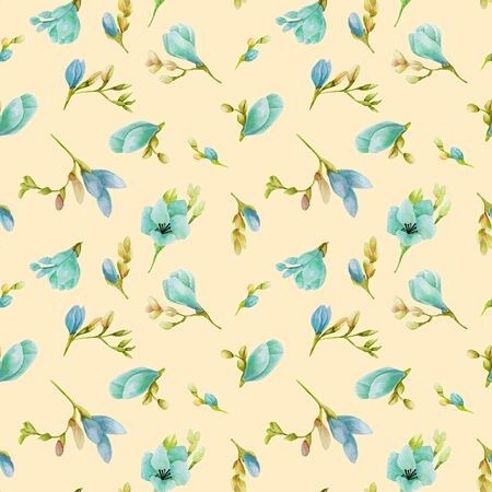 Watercolor blue freesia flowers seamless pattern, hand drawn on a pastel