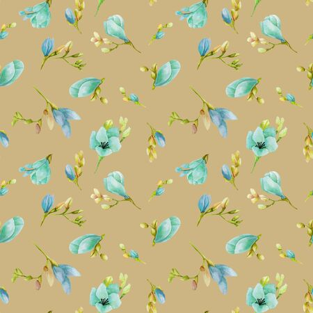 Watercolor blue freesia flowers seamless pattern, hand drawn on a brown Banco de Imagens