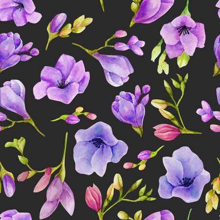 Watercolor purple freesia flowers seamless pattern, hand drawn on a dark