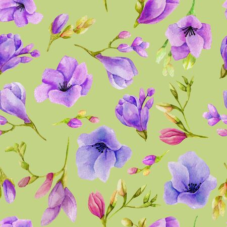Watercolor purple freesia flowers seamless pattern Banco de Imagens
